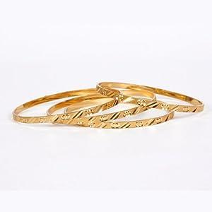 Jewbang Plain gold plated 4 bangles-JB059 for women