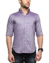 Zovi Cotton Slim Fit Casual Purple Solid Shirt with Pocket(11961806601_Small)