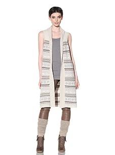 Qi Cashmere Women's Fair Isle Sweater Vest (Irish Cream)