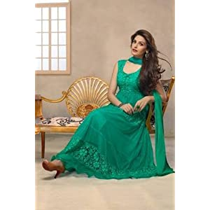 Latest Aqua Green Anarkali Suit