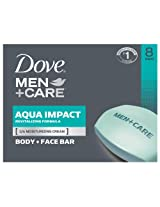 Dove Men + Care Body and Face Bar, Aqua Impact, 8 Count, 4 Ounce