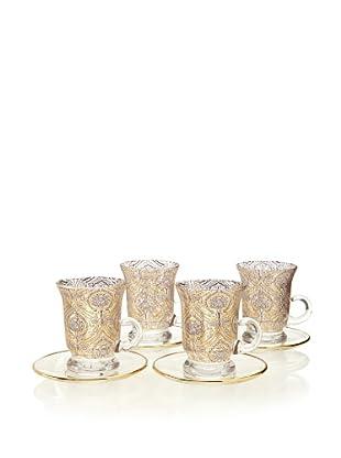 A Casa K Set of 4 Dupont Décor Crystal 5-Oz. Teacup & Saucer Set, Clear/Gold