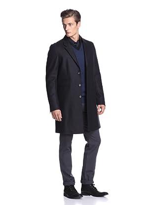 Vince Men's Raw Edge Detail Wool Coat (Black)