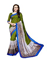 Grey & Green Colour Faux Bhagalpuri Semi Party Wear Lotus Printed Saree 13346