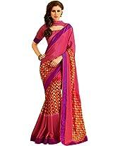 Pagli semi-crepe printed saree with printed silk blouse and border