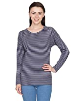 Hypernation Blue and Grey Stripped T-Shirts for Women