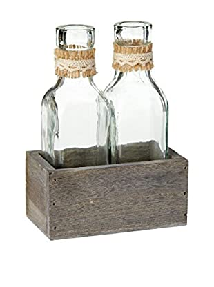 Sage & Co. Burlap Bottles in Holder