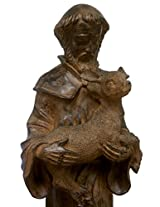 "Echo Valley 4122 St Francis Holding Deer 24"" Tall Lightweight Garden Statue in Rust Finish"