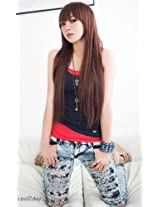 Cool2day Cute Straight Bangs Long Wig+wig Cap (Model:jf010011) (Dark Brown).