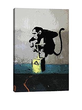 Banksy Monkey TNT Detonator Gallery Wrapped Canvas Print