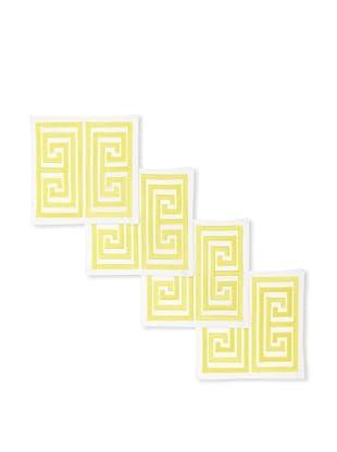 Trina Turk Set of 4 Greek Key Embroidered Cocktail Napkins (Acid Yellow)