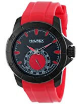 Haurex Italy Men's 3N503URR Acros Black Ion-Plated Coated Stainless Steel Red Rubber Strap Watch