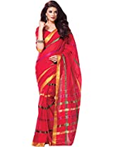 Parchayee Women's Cotton Saree (94372A, Red, Free Size)