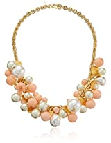 Kenneth Jay Lane Gold Coin - Angel Skin And Pearl Bead Cluster Necklace