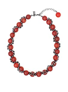 Tuleste Market Woven Marble Necklace, Gunmetal/Red