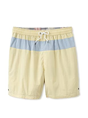 Tailor Vintage Men's Reversible Swim Trunks (Palm Beach Patchwork/Yellow)