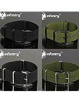 US INFANTRY MILITARY New Nylon Fabric Black Green Wrist Watch Strap Band 20/22mm