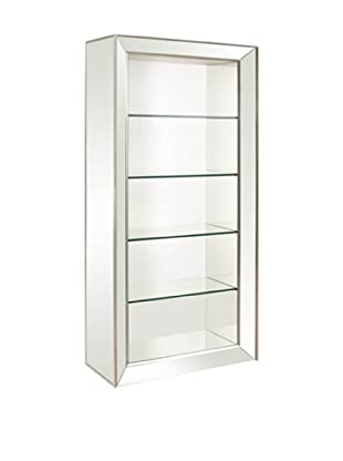 Bassett Mirror Minetta 5-Shelf Bookcase, Mirrored