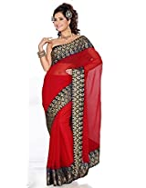Sehgall Saree Indian Ethnic Professional Faux Chiffon with Fancy Big Border - Red