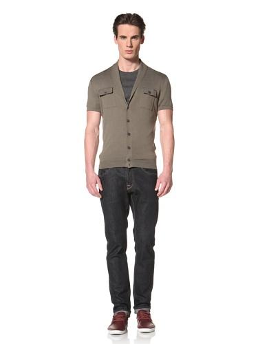 Antony Morato Men's Short Sleeve Shawl Collar Sweater (Green)