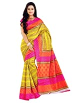Suchi Fashion Women's Yellow and Orange Jacquard Printed Saree