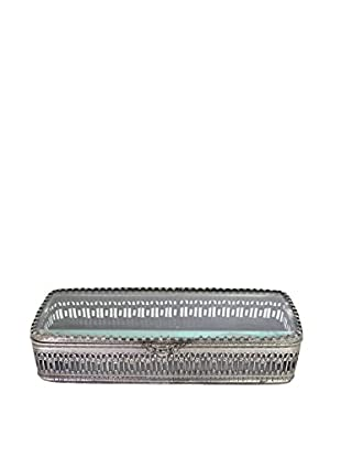 Blue Ocean Traders Glass Pencil Box, Silver