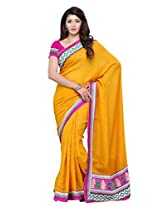 Diva Fashion-Surat Art silk embroidered yellow saree-DFS427B