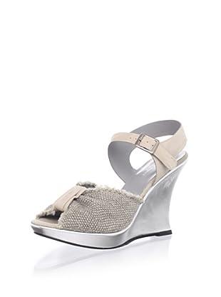 Nanette Lepore Women's Samba Wedge Sandal (Nude/Silver)