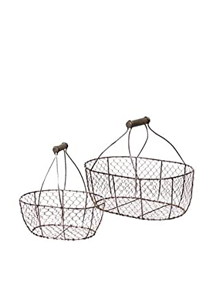 Skalny Set Of 2 Oval Wire Baskets, Brown