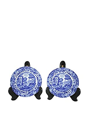 Pair of Flow Blue Spodes of England Plate, Blue/White