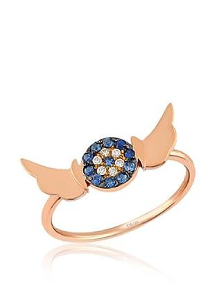 Divas Diamond Anillo Angel Wing Good Luck Eye (Dorado / Azul)