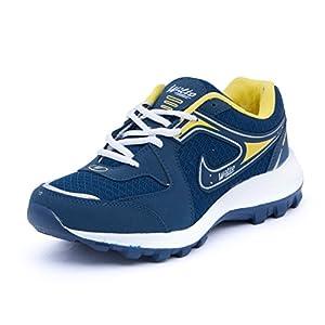 Asian Men's Navy Blue & Yellow Mesh Bullet Range Running Shoes (7 UK)