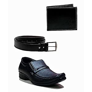 At Classic Combo of Black Men Formal Shoes Wallet and Belt Ann 235