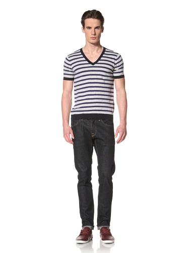 Antony Morato Men's Short Sleeve V-Neck Stripe Sweater (Light Grey)