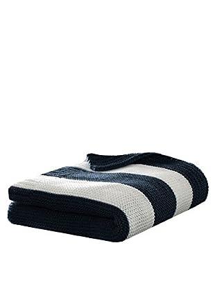 Eddie Bauer Stripe Knit Throw, Navy/Ivory