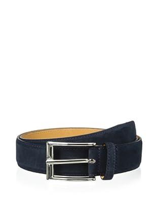 Leone Braconi Men's Velour Z Belt (Navy)