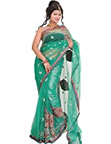 Exotic India Marine-Green Wedding Shimmer Saree with Embroidered Patches - Green