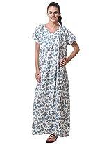 AF affair Women's Loose Fit Night Suit (PVT-3-B, Blue, L)