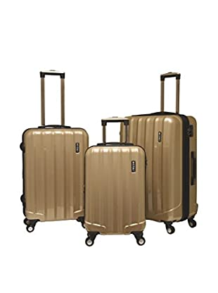 Travelers Club 3-Piece Rio Collection Expandable Hardside Spinner Luggage Set, Champagne