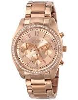 Caravelle New York Crystal Analog Gold Dial Women's Watch - 44L117