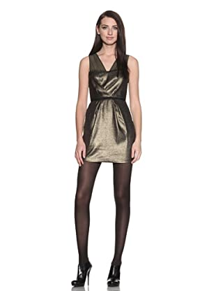 Charlotte Ronson Women's V-Neck Bustier Combo Dress (Antique Gold)