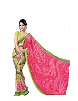 Anss Faux Georgette Saree (Anss0015 _Pink&Green)
