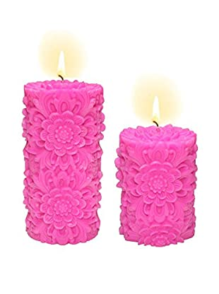 Volcanica Set of 2 Hot Pink Dendritic Pillar Candles