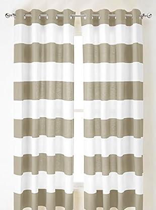Nautica Cabana Stripe Curtain, Taupe