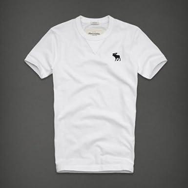 Abercrombie & Fitch アバクロ メンズ 半袖 Tシャツ [ホワイト/Moose刺繍]