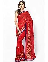 Poly Chiffon Red Embroidered Saree Mrignain