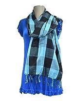Sofias Exclusive Viscose Woven Medium Shawl,Size-70 cms x 200 cms,Color-Blue / Black
