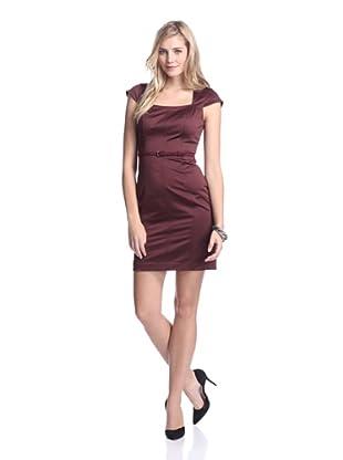 Marc New York Women's Belted Cap Sleeve Dress (Oxblood)