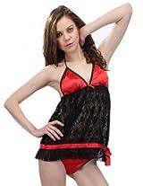 Honeybumm Women Nightwear black/red