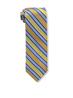 Bruno Piattelli Men's Stripe Silk Tie, Gold Navy